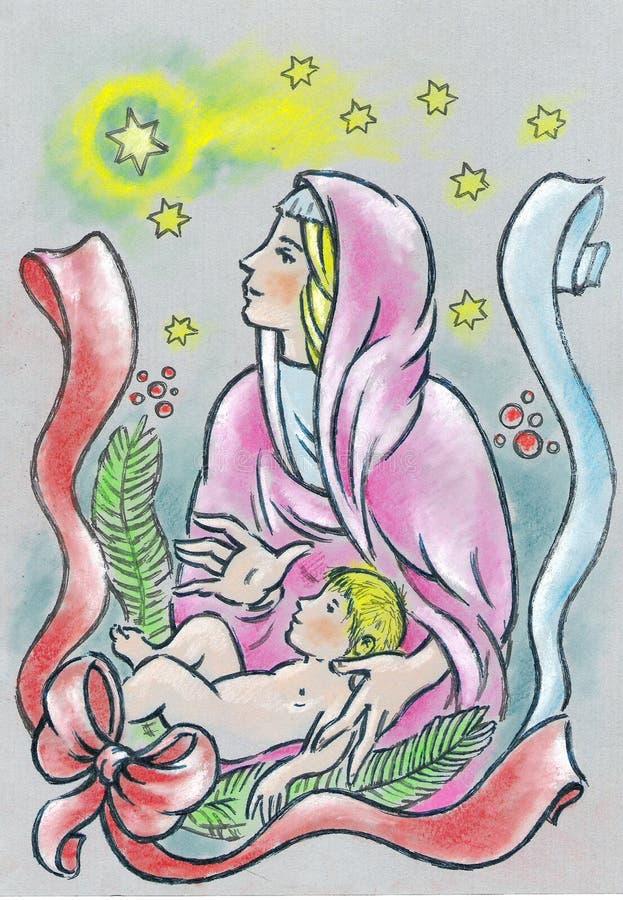 Nativity. The birth of Jesus. Jesus was born in Betlehem of Judea. Her mother is Maria. Jesus is love vector illustration