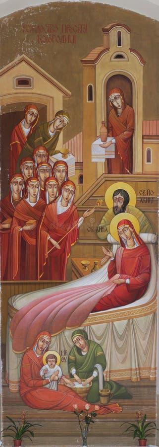 Nativity av Theotokosen vektor illustrationer