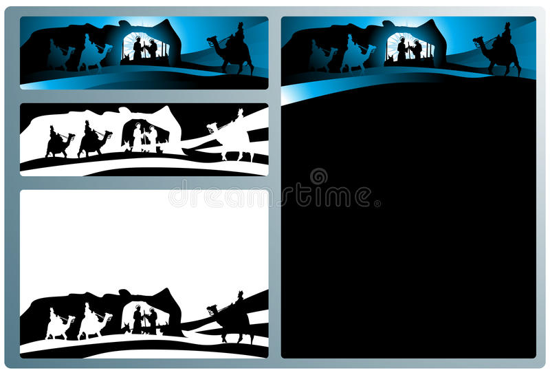 Nativity banners and letter stock illustration