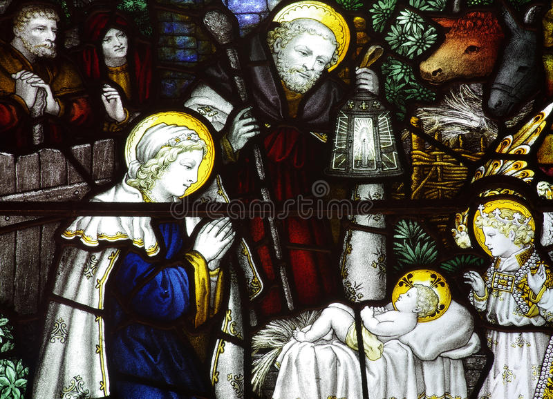 The Nativity; birth of Jesus in stained glass vector illustration