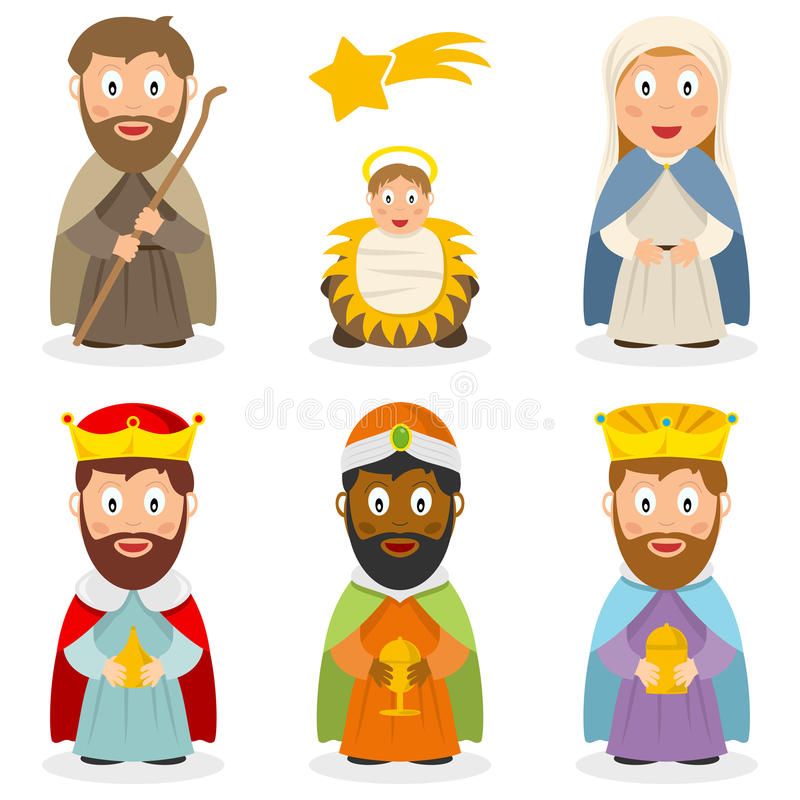 Nativity Cartoon Characters Set. Collection of cartoon characters representing the Holy family (Joseph, Jesus and Maria) and the three wisemen or Magi, isolated stock illustration