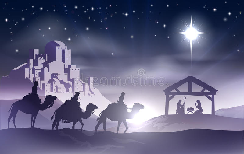 Nativity Christmas Scene. Christmas Christian nativity scene with baby Jesus in the manger in silhouette, three wise men or kings and star of Bethlehem with the