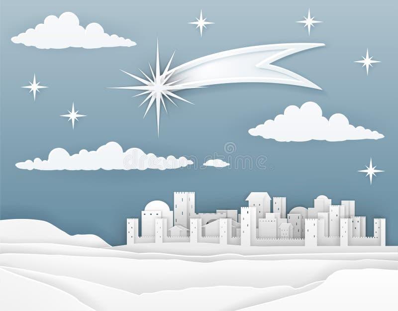 Nativity Christmas Bethlehem Paper Scene stock illustration