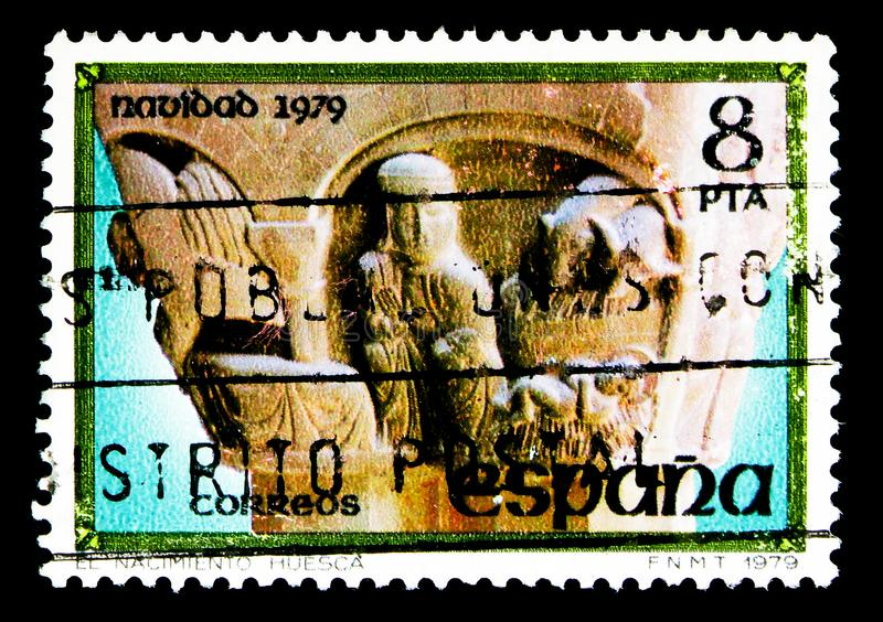 Nativity, Christmas serie, circa 1979. MOSCOW, RUSSIA - MAY 15, 2018: A stamp printed in Spain shows Nativity, Christmas serie, circa 1979 royalty free stock photos