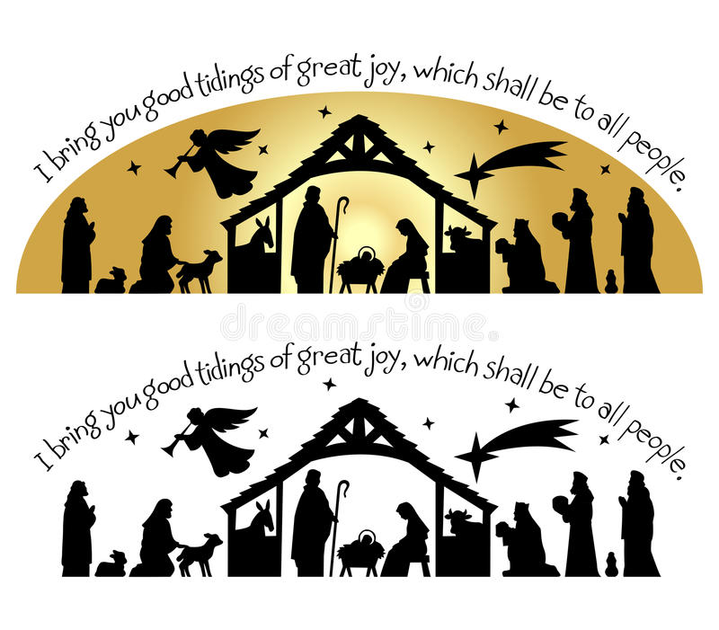 Nativity Christmas Silhouette/eps. Calligraphy Christmas bible verse with nativity silhouette...I bring you good tidings of great joy, which shall be to ll