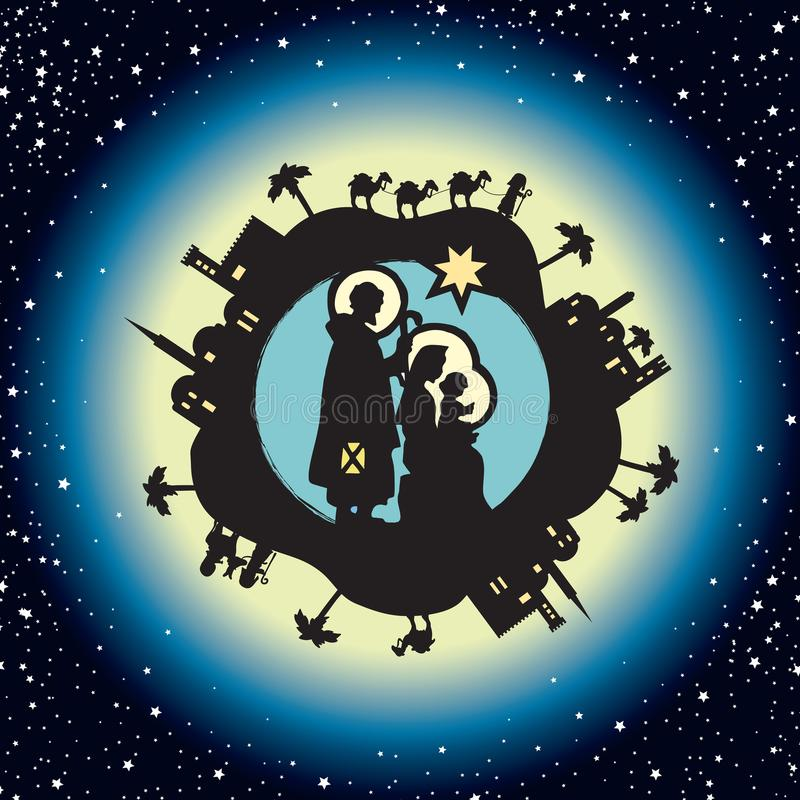 Nativity. Christmas in starry background vector illustration