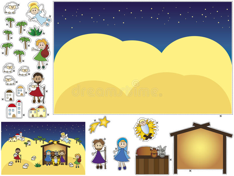 Download Nativity cut and paste stock illustration. Image of manger - 28077109