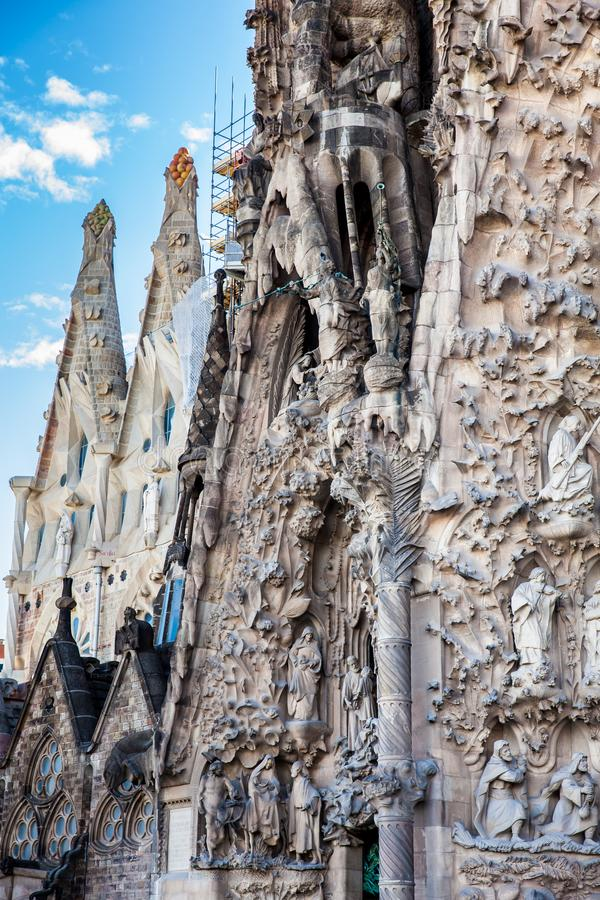 Nativity Facade of the Basilica and Expiatory Church of the Holy Family. In Barcelona stock image