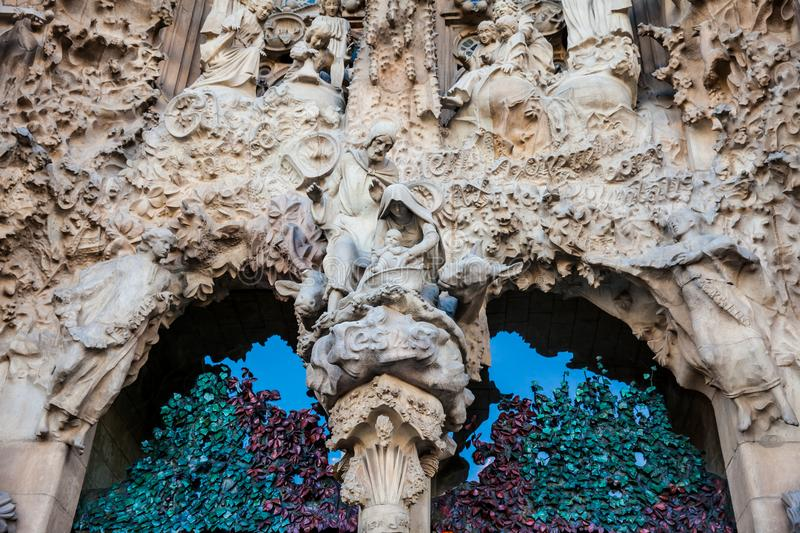 Nativity Facade of the Basilica and Expiatory Church of the Holy Family. In Barcelona stock images