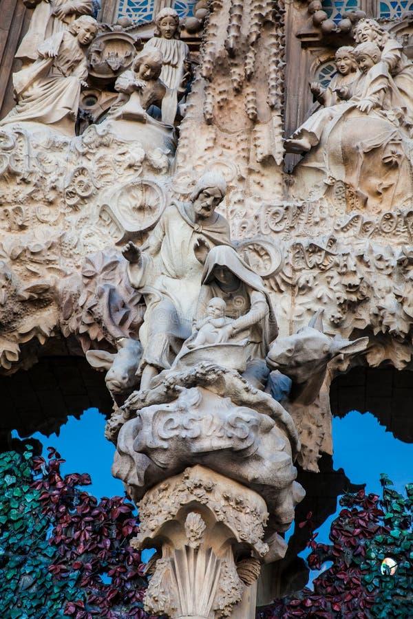 Nativity Facade of the Basilica and Expiatory Church of the Holy Family stock photos