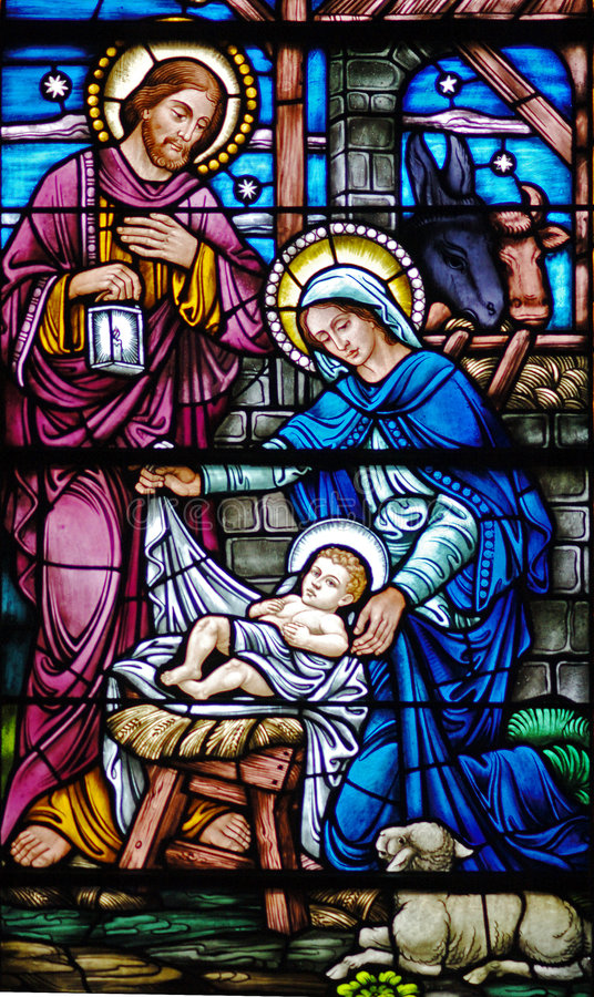 Nativity in glass royalty free stock photo