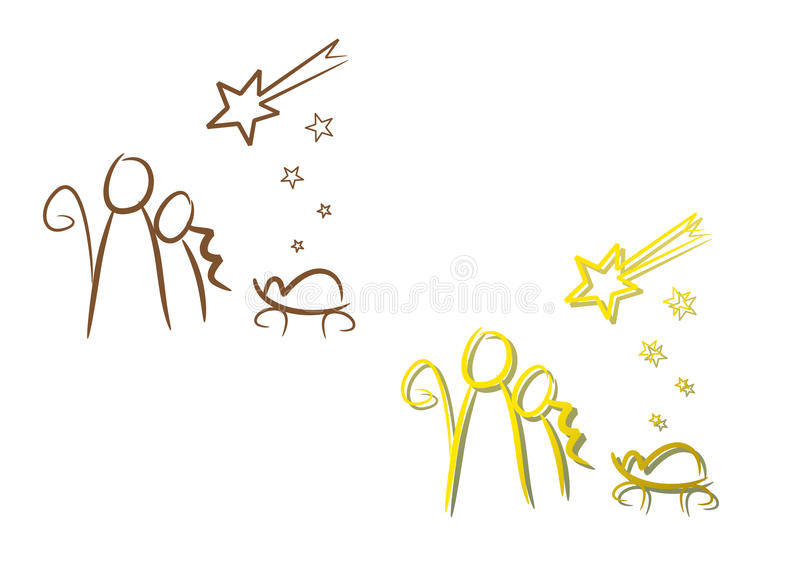 Nativity Illustration Set: Christmas Night. Line-art drawing illustrating the birth of Jesus of Nazareth (two color versions included stock illustration