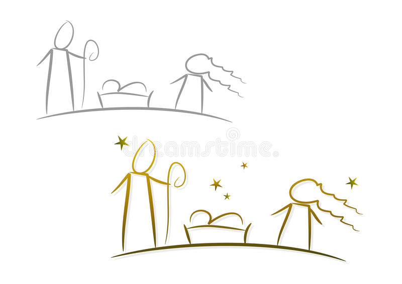 Nativity Illustration Set: Christmas Night. Line-art drawing illustrating the birth of Jesus of Nazareth (two color versions included vector illustration