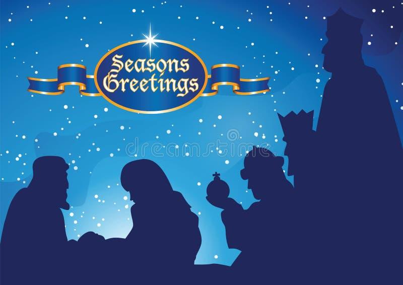 Nativity with kings. Vector illustration of nativity scene stock illustration
