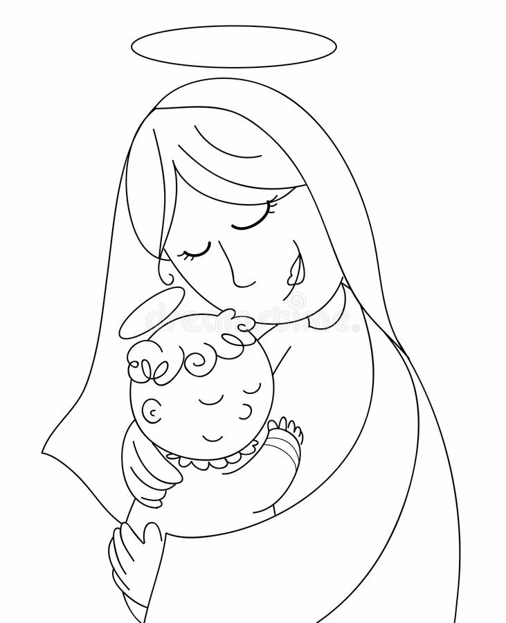 Nativity: Mary and baby Jesus bw stock illustration