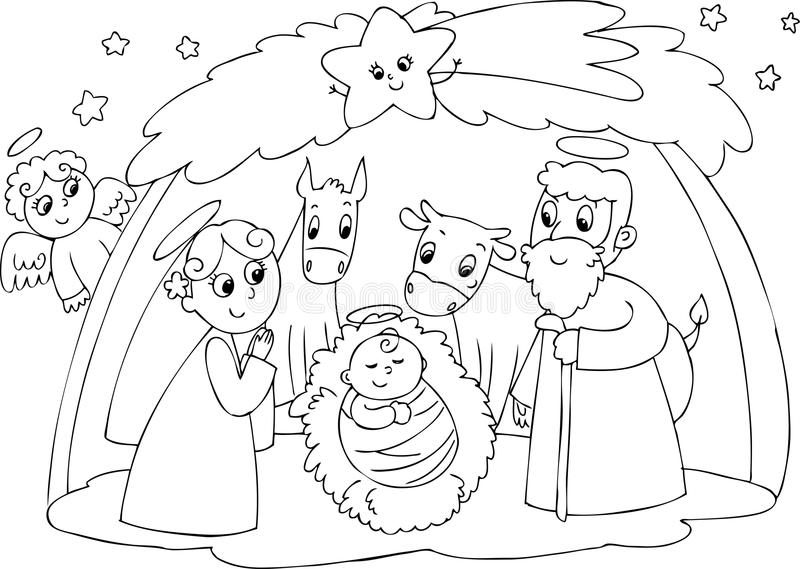 Nativity: Mary Joseph and Jesus royalty free illustration