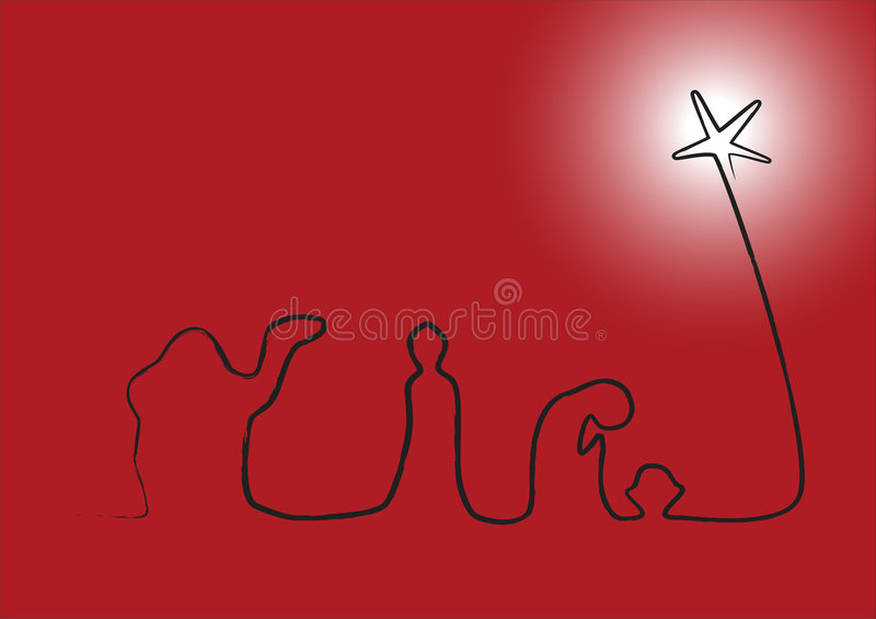 Nativity on Red with Glowing Star. Simple nativity done in a single rough line on a red background with a glowing north star. Vector format available
