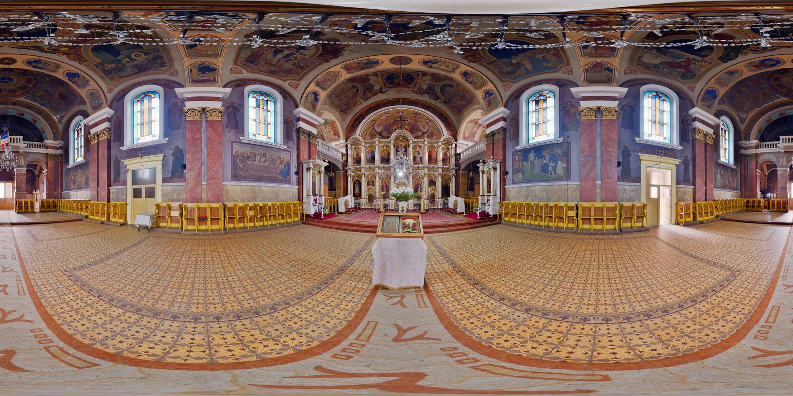 Nativity of Saint John the Baptist Orthodox Cathedral, Arad, Romania. 360 interior panorama of Nativity of Saint John the Baptist Orthodox Cathedral in Arad royalty free stock images