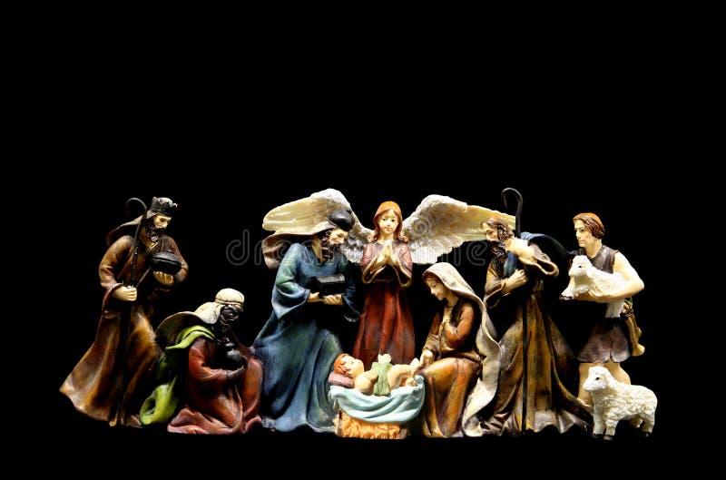 Nativity Scene. A religious nativity scene isolated over black