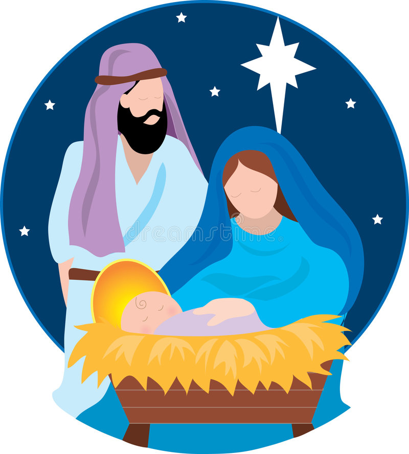 Nativity Scene. With Mary,Joseph and the Baby Jesus royalty free illustration