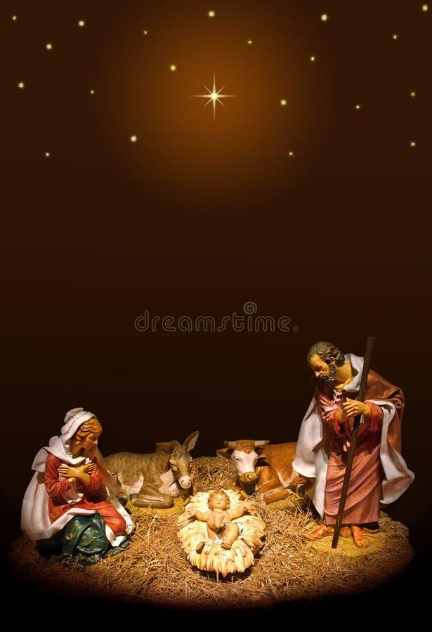 Nativity scene. Nativity with Mary, Jesus and Joseph on night background with stars stock photos