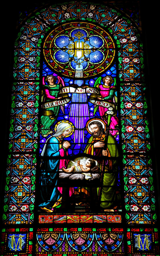 Nativity Scene. Stained glass window in the Montserrat monastery in Catalonia, Spain royalty free stock image