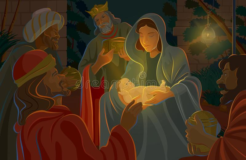 Download Nativity Scene stock illustration. Illustration of family - 28133397