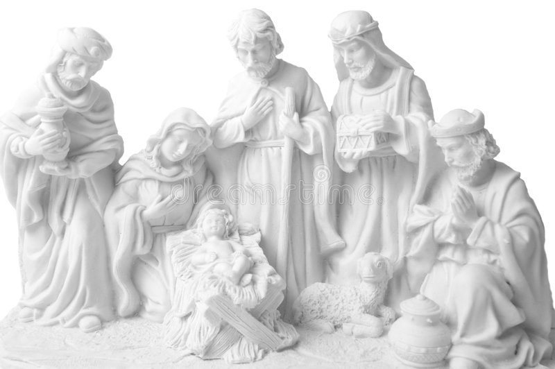 Nativity scene. Whit jesus, Joseph, Virgin Mary, three oriental kings bringing presents and a sheep royalty free stock photos
