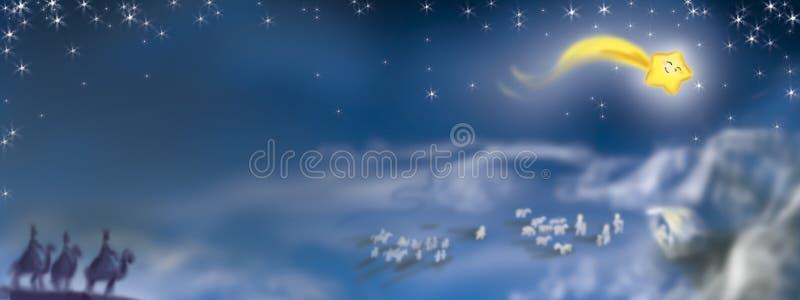 Nativity scene from above banner vector illustration