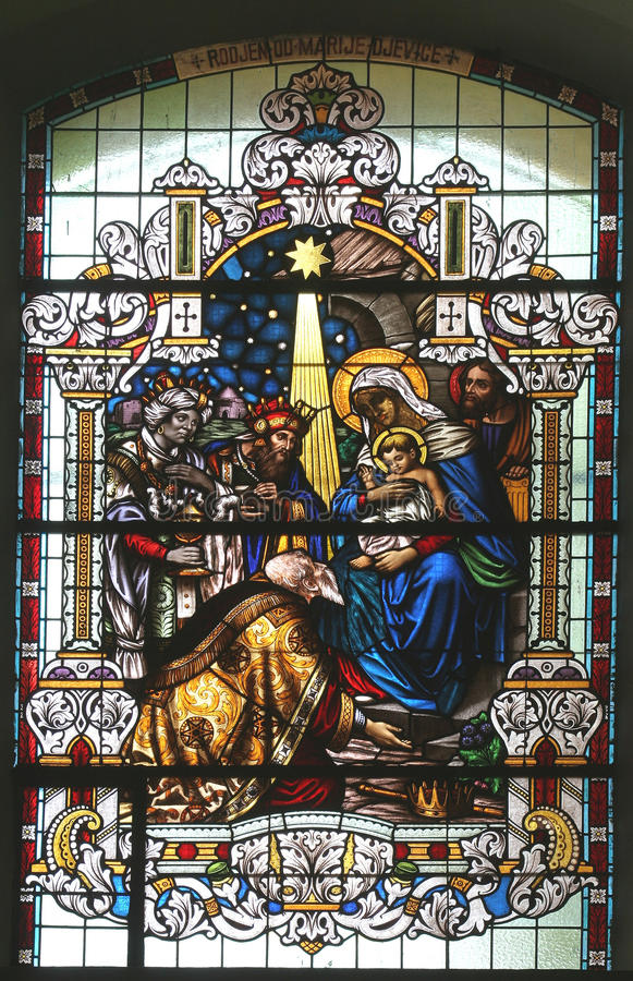 Nativity Scene, Adoration of the Magi. Stained glass church window royalty free stock photos