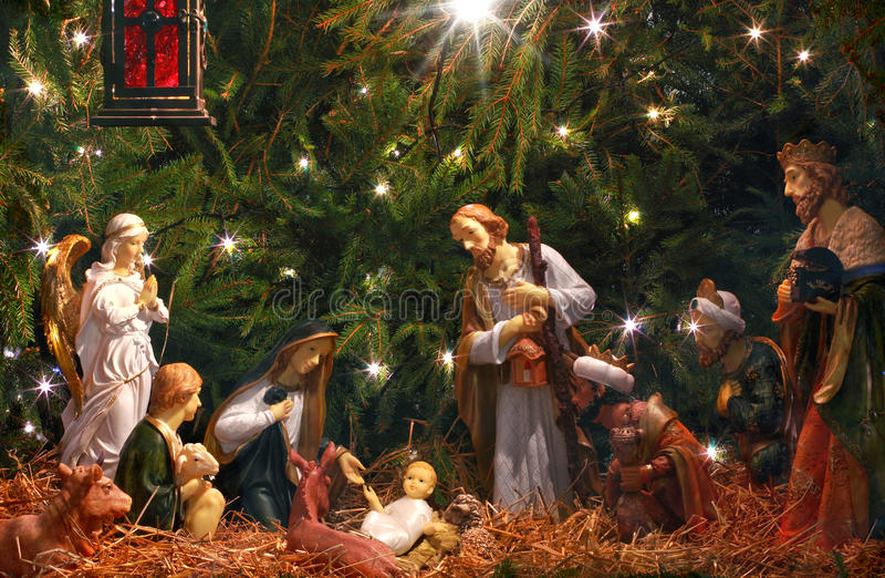 Nativity Scene. Adoration of the Magi. stock images