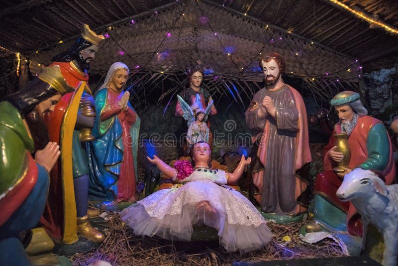 Nativity scene, Christmas at Basilica of the Sacred Heart of Jesus, Pondicherry royalty free stock photo