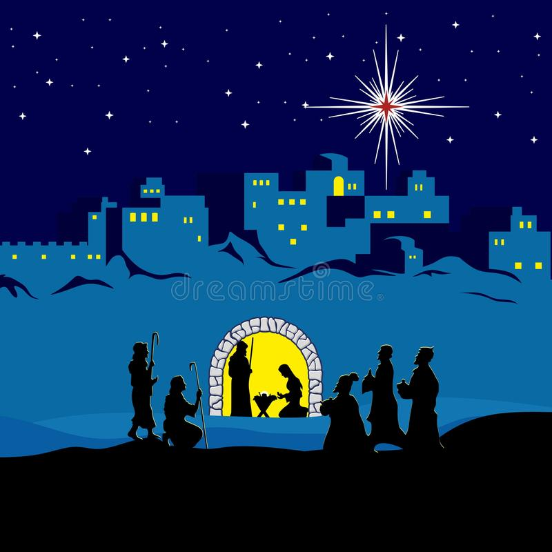 Nativity scene. Christmas. Bethlehem. Mary, Joseph and small Jesus. The shepherds and the wise men came to worship Jesus. royalty free illustration