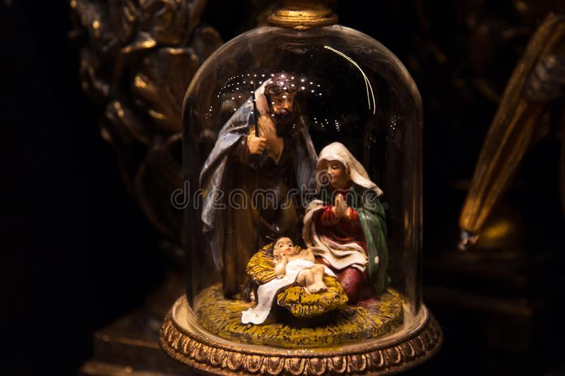 Nativity scene. Christmas decoration with birth of baby Jesus christ royalty free stock photography