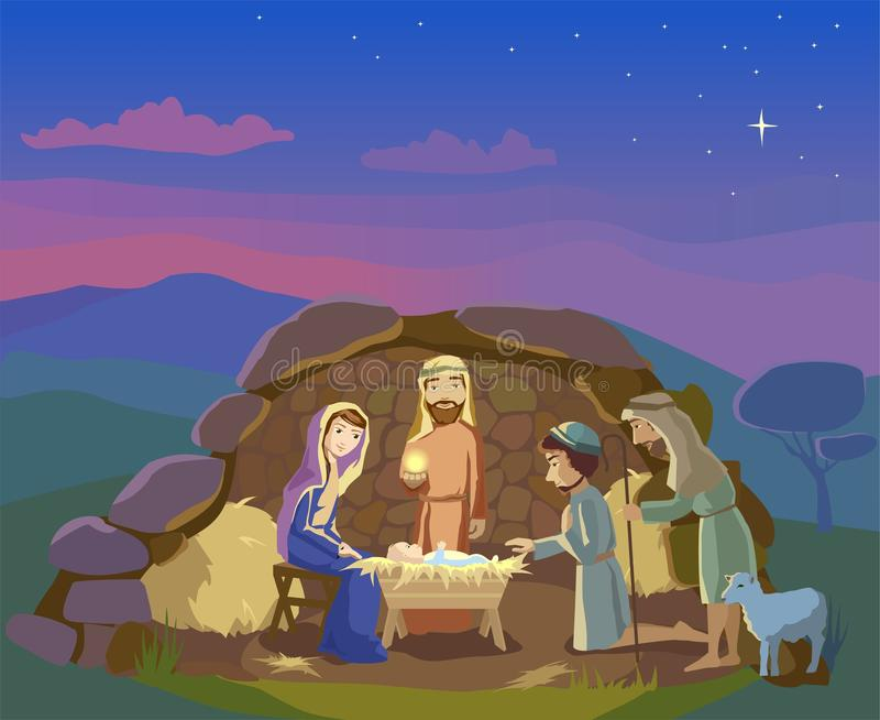 Nativity scene. Christmas illustration vector illustration