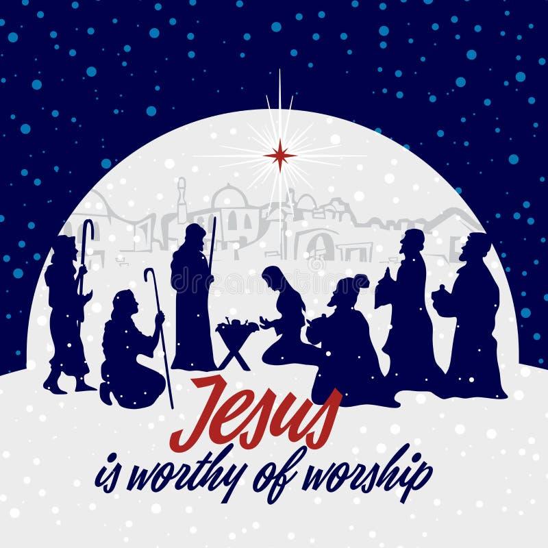 Nehushtan, a crucifix, Moses on the hill.Nativity scene. Christmas. Jesus is worthy of worship. royalty free illustration