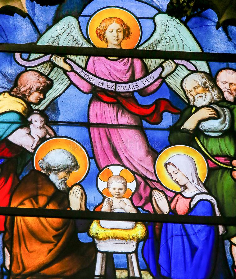 Nativity Scene at Christmas - Stained Glass in Quartier Latin, Paris, France stock image