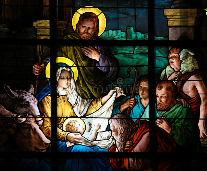 Nativity Scene at Christmas - Stained Glass. Nativity Scene at Christmas. Stained glass window in the German Church in Gamla Stan in Stockholm stock photography