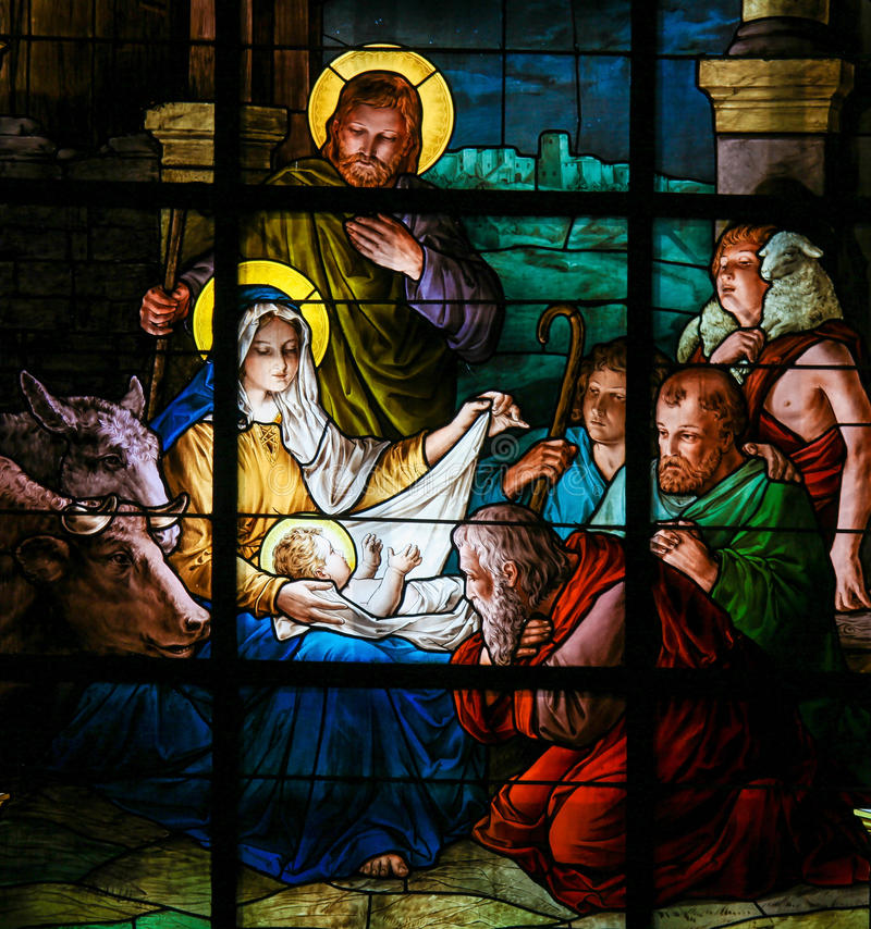 Nativity Scene at Christmas - Stained Glass stock image