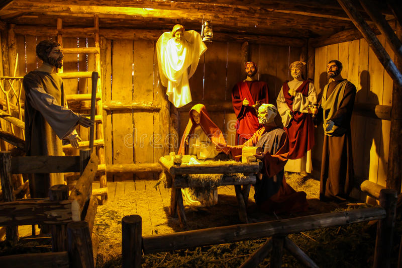 Nativity Scene. A nativity scene or crèche also known as a manger scene, or crib, in Italian presepio or presepe) representing the birth of baby Jesus in a stock photography
