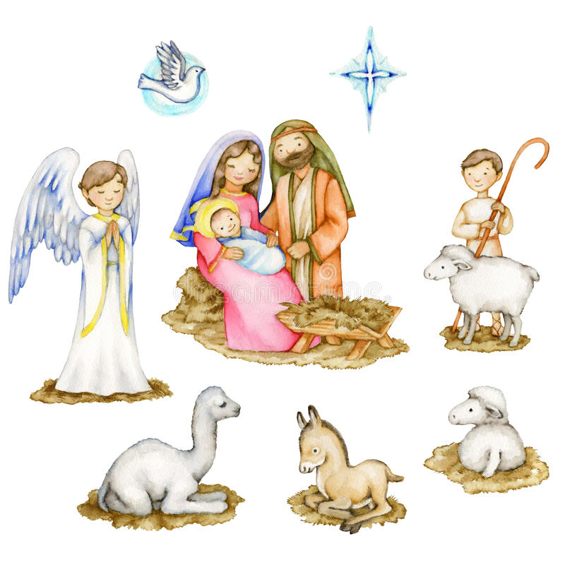 Nativity Scene Elements. A watercolor children's illustration of a nativity scene with different elements, including sheep, a shepherd, camel, donkey stock illustration