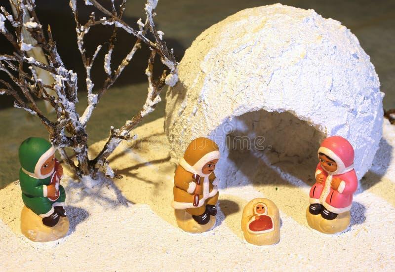 Nativity scene with the Eskimos on pole. Nativity scene with the Eskimos to the north pole royalty free stock photography