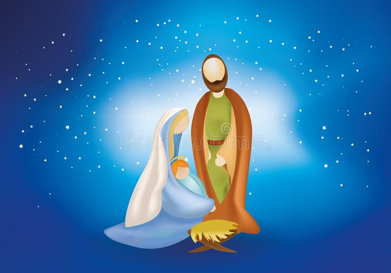 Christmas nativity scene with holy family -Joseph Mary baby Jesus on blue background. Nativity scene with giuseppe, maria with child jesus in arm and manger on stock illustration