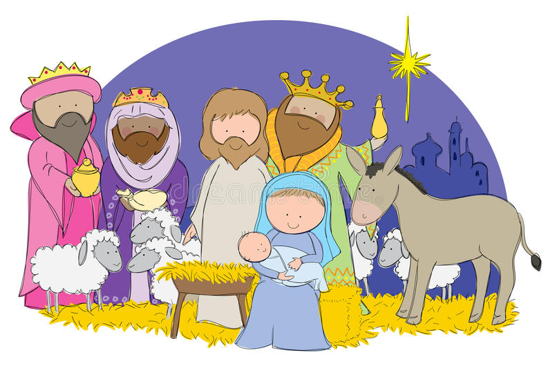 Nativity Scene. Hand drawn picture of full nativity scene including Mary, Joseph and baby Jesus. Illustrated in a loose style. Vector eps available