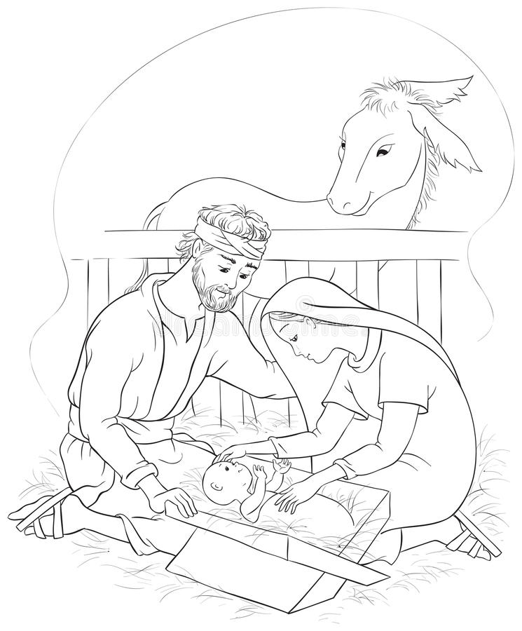 Download Nativity Scene With Holy Family Jesus Mary And Joseph Coloring Page Stock