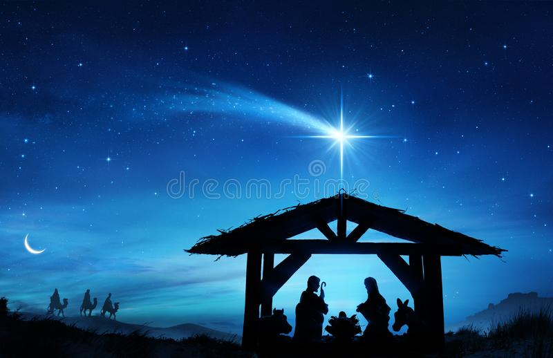 Nativity Scene With The Holy Family. In Stable And Star