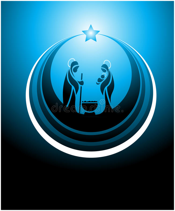 Nativity scene icon. Icon depicting the nativity scene in blue
