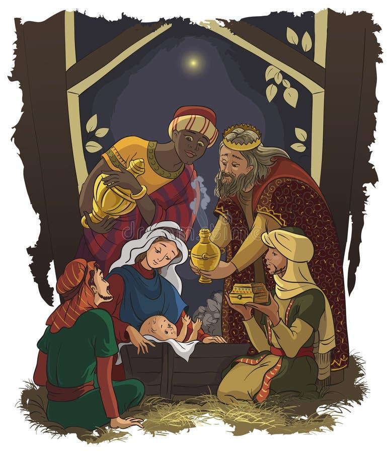 Nativity scene Jesus, Mary, Joseph and Three Kings. Christmas illustration of the birth of Jesus Christ with Joseph and Mary accompanied by the three wise men in vector illustration