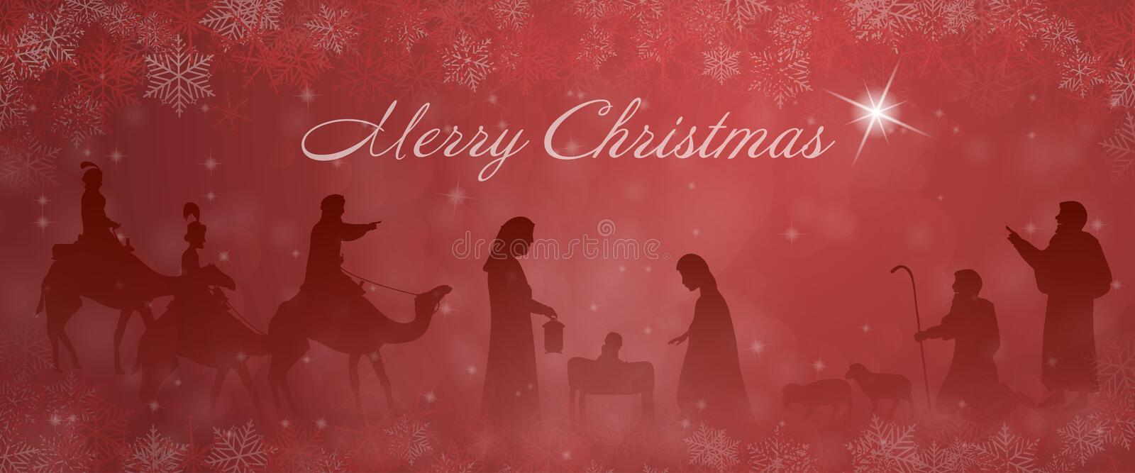 Christmas time - Nativity scene stock illustration