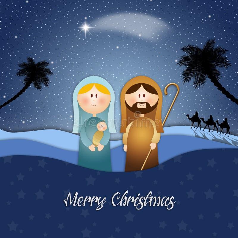 Nativity scene for Merry Christmas royalty free illustration